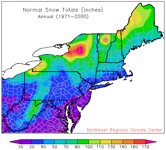 Best Climate Area In Finger Lakes Region Syracuse Binghamton - Average snowfall map us