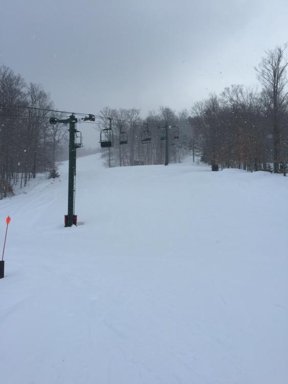 Snow falling when I got there and no lift lines