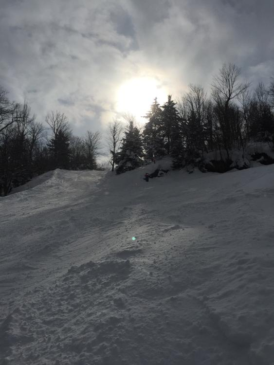 Sun poked out at the end of the day - looking up from Big Dipper