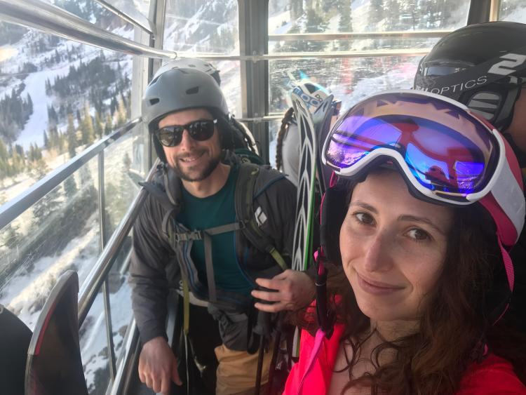 Julia and Kyle feeling the spring hype on the Snowbird Tram