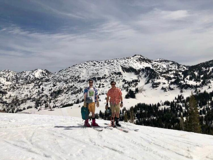 Skiing, but dressed for the beach
